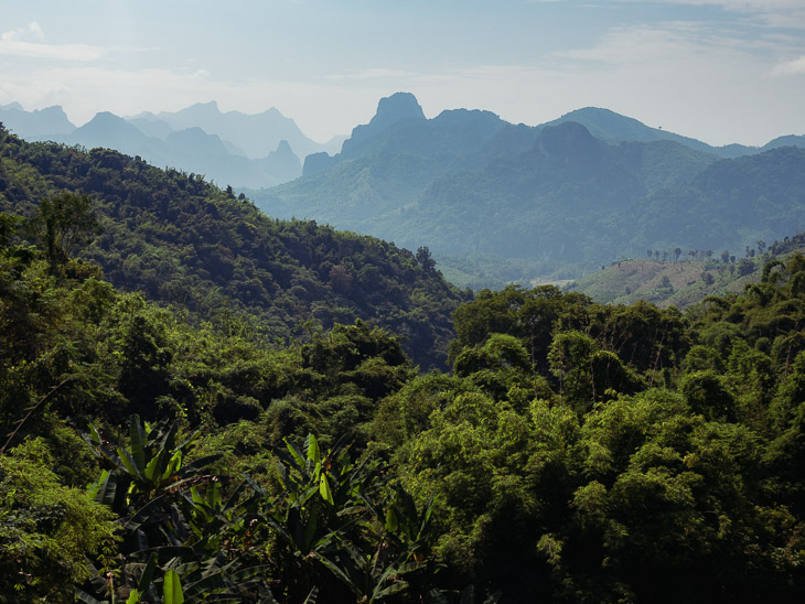 Incredible views of Laos countryside from the 100th waterfall in Nong Khiaw, Laos