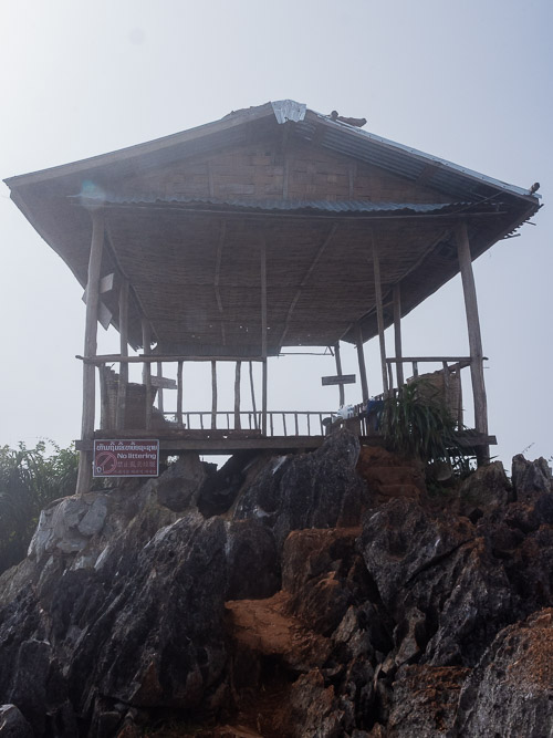 The shelter at the 360 viewpoint in Nong Khiaw, Laos