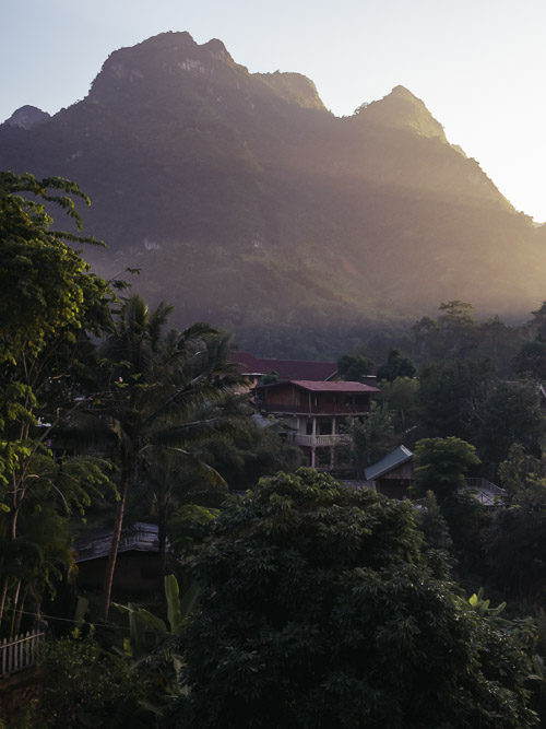 Sunset views from the bridge in Nong Khiaw, Laos