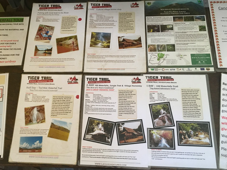 A photo of all the tours Tiger Trail offer in Nong Khiaw, Laos