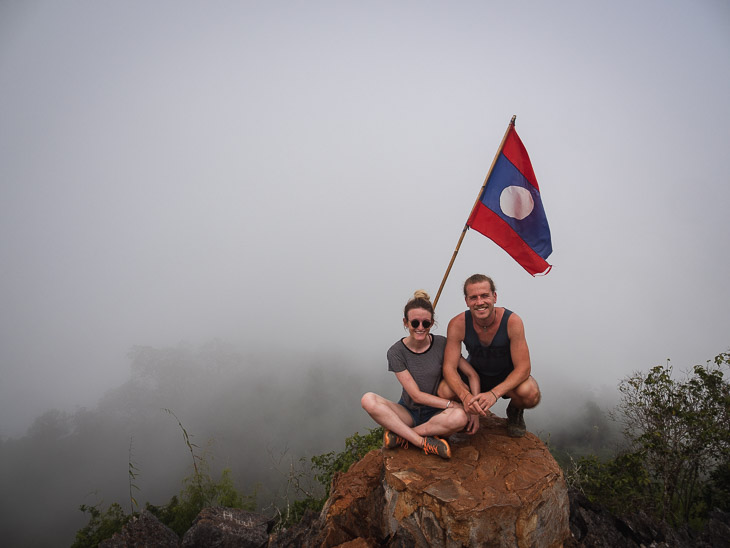 A cloudy view from the 360 viewpoint in Nong Khiaw, Laos