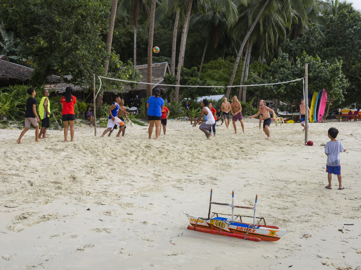A game of beach volleyball at Palawan Camping in Port Barton in the Philippines