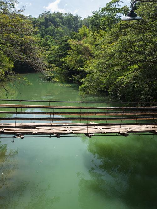 Bamboo hanging bridge over Loboc River in Bohol Philippines