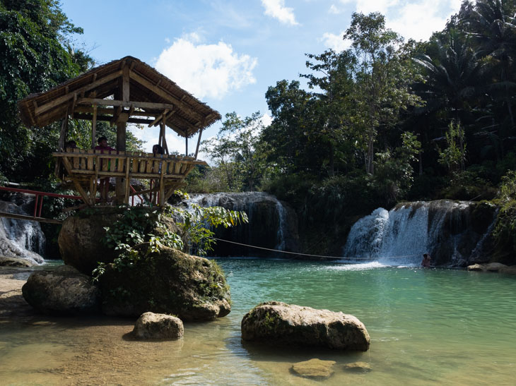 Waterfall with hut in Bohol Philippines