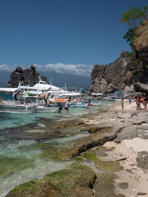 Visitors jump off their boat to arrive on Apo Island, Philippines