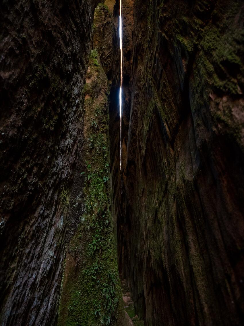 A narrow crack in a rock formation at La Ciudad de Itas, Torotoro National Park, Bolivia