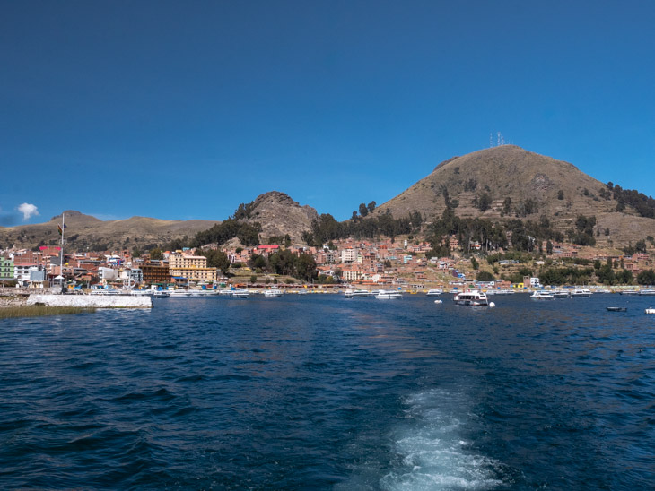 A view of harbour town Copacabana from the water of Lake Titicaca, Bolivia