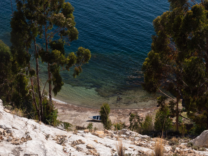 A view of a beach from above on the northern coast of Isla del Sol, Bolivia