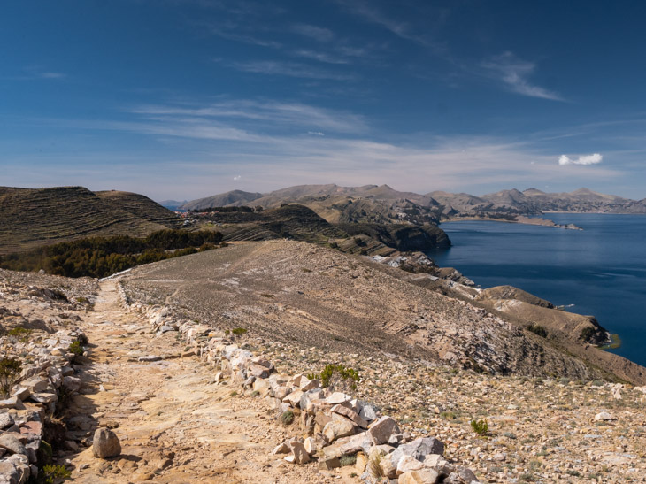 A well-marked pathway on Isla del Sol with sweeping lake views, Bolivia