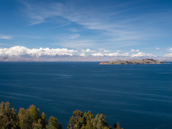 A view of the Cordillera Real mountain range and Isla de la Luna from Isla del Sol, Bolivia