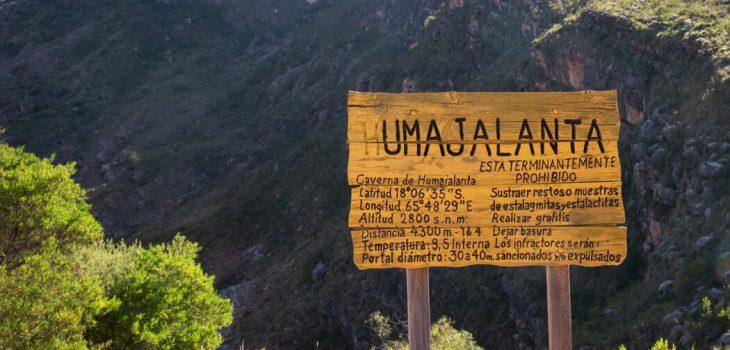A sign reads 'Umajalanta' at the offices of Cavernas de Umajalanta, Torotoro National Park, Bolivia