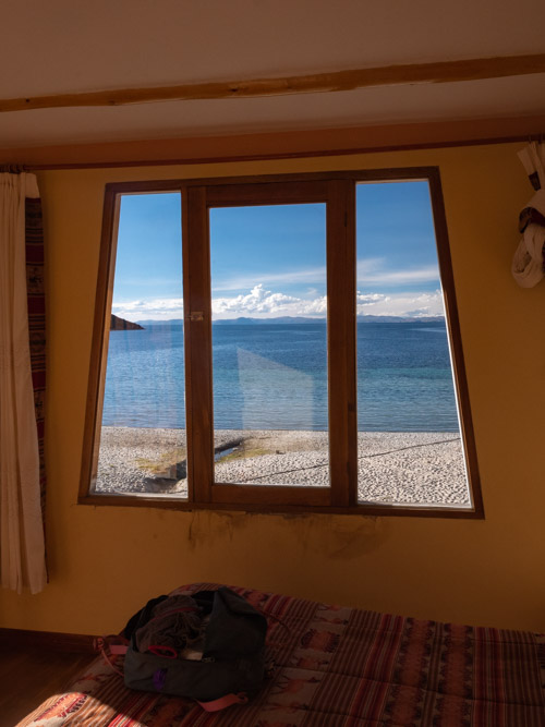 A view of Lake Titicaca from a hotel window, Isla del Sol, Bolivia
