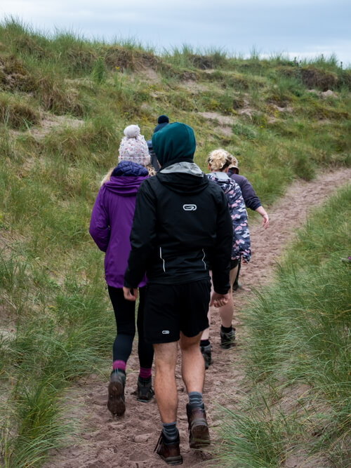 A group along a rough path on a Scottish island