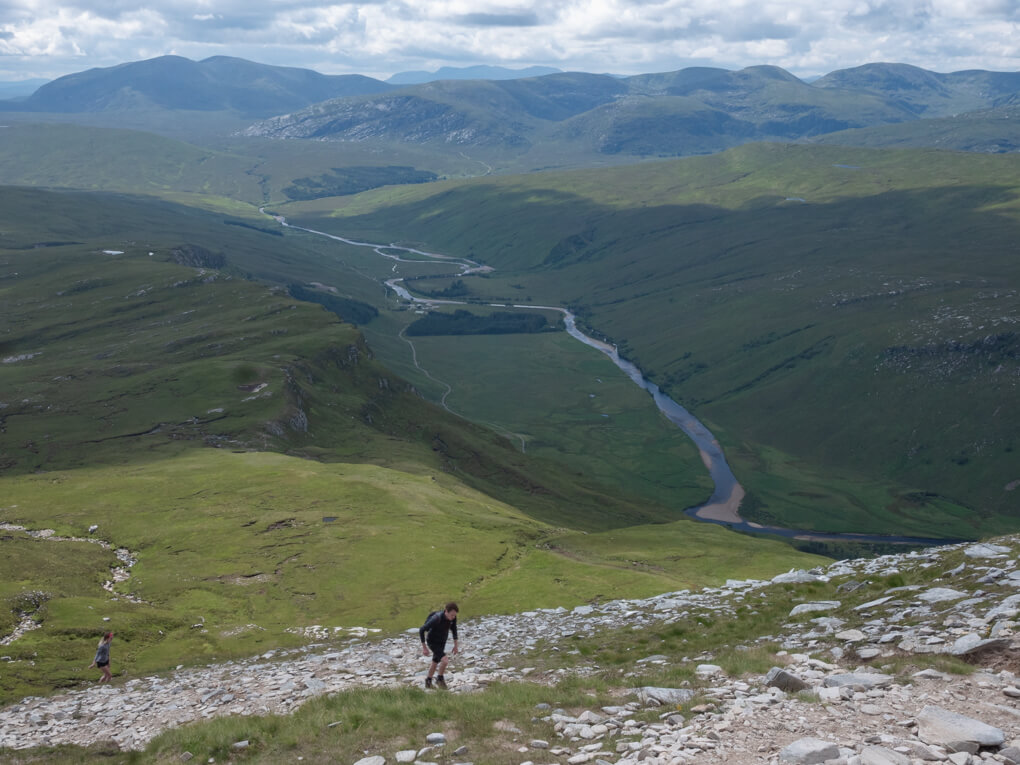 A man walks up Ben Hope near Tongue, Scotland