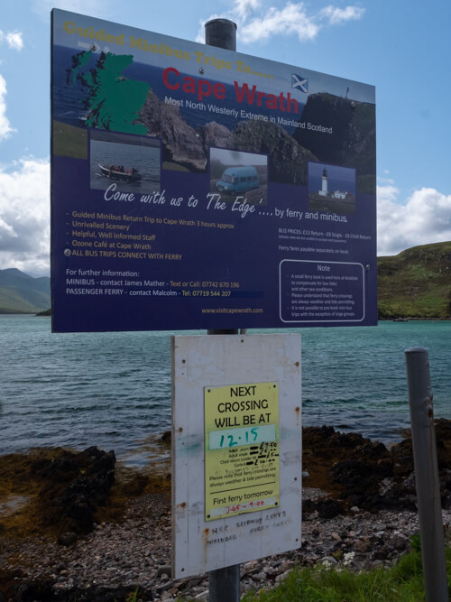 A sign describing Cape Wrath, Scotland
