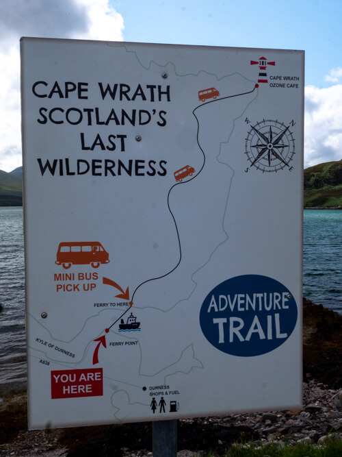 A sign for the 'Adventure Trail' to Cape Wrath