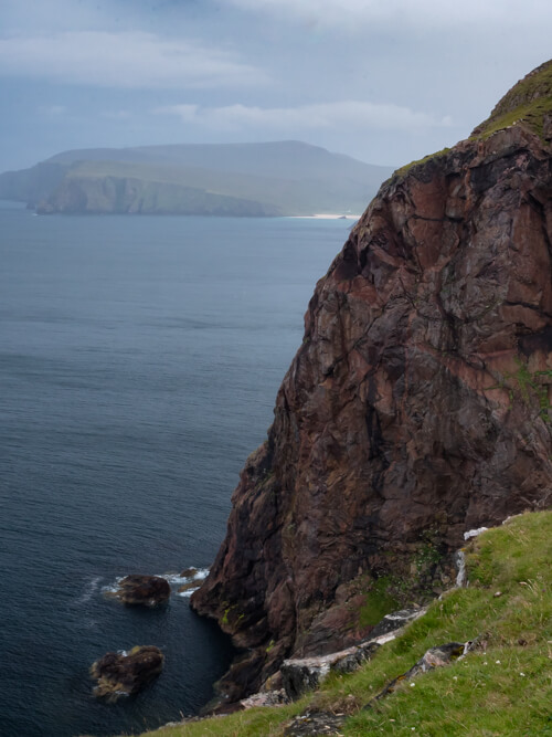 Views of Kearvaig Beach from high cliffs, Scotland