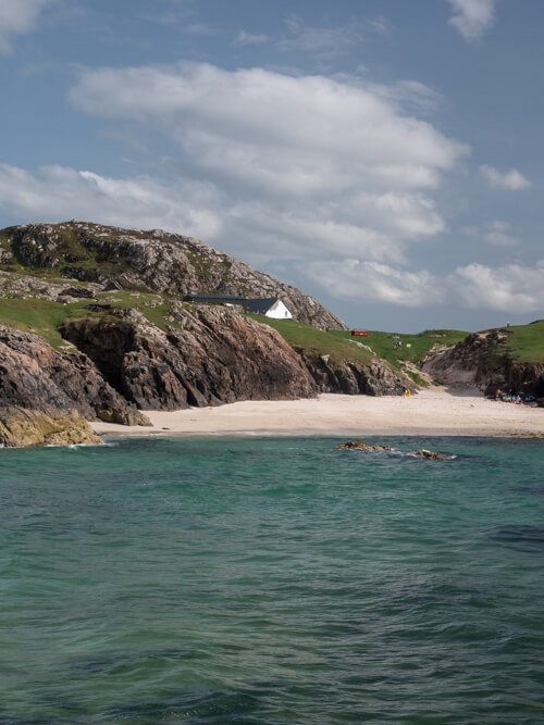 Blue water of Clachtoll Beach, near Lochinver