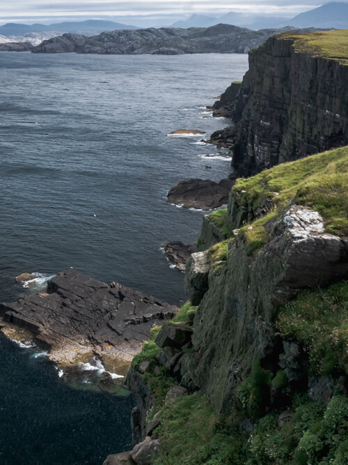 Jagged and rough cliffs and coast of Handa Island