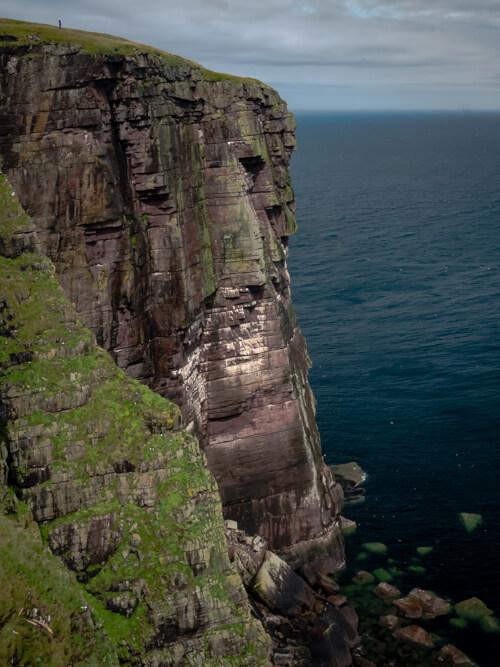 A girl stands above huge sea cliffs on Handa