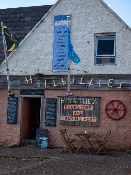 A sign says 'Hillbillies' book shop on the exterior