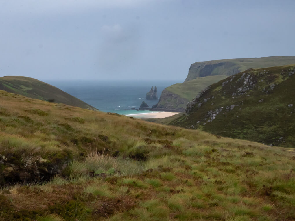 Views of Kearvaig beach and sea stacks from high ground, Scotland