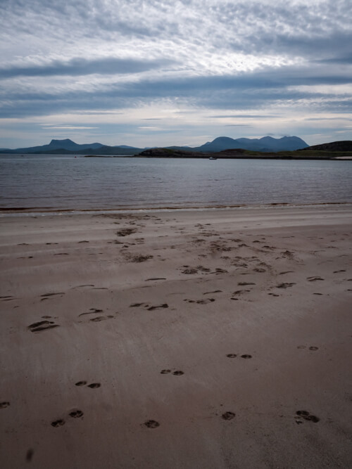 Footprints in the sand at Mellon Udrigle, Scotland
