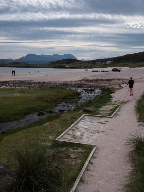 A walkway leads down to spectacular Mellon Udrigle Beach