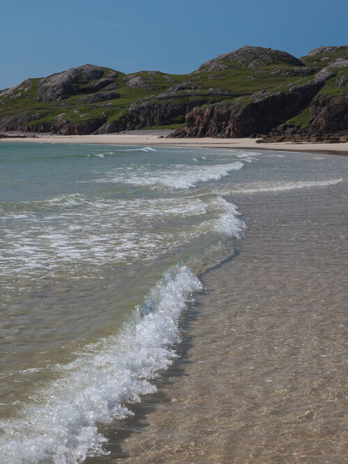 Crystal clear waters on Oldshoremore Beach, Scotland