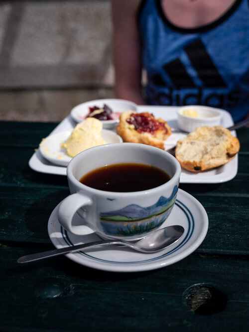 A cup of coffee and scones at the Perfume Studio