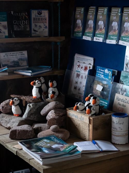Puffins and walking trail brochures on a table in an island hut