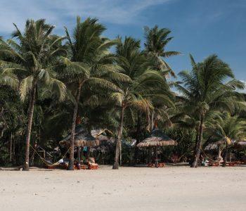 White sand and palm trees on Sugar Beach