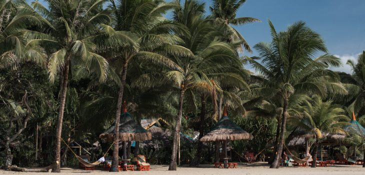 White sand and palm trees on Sugar Beach