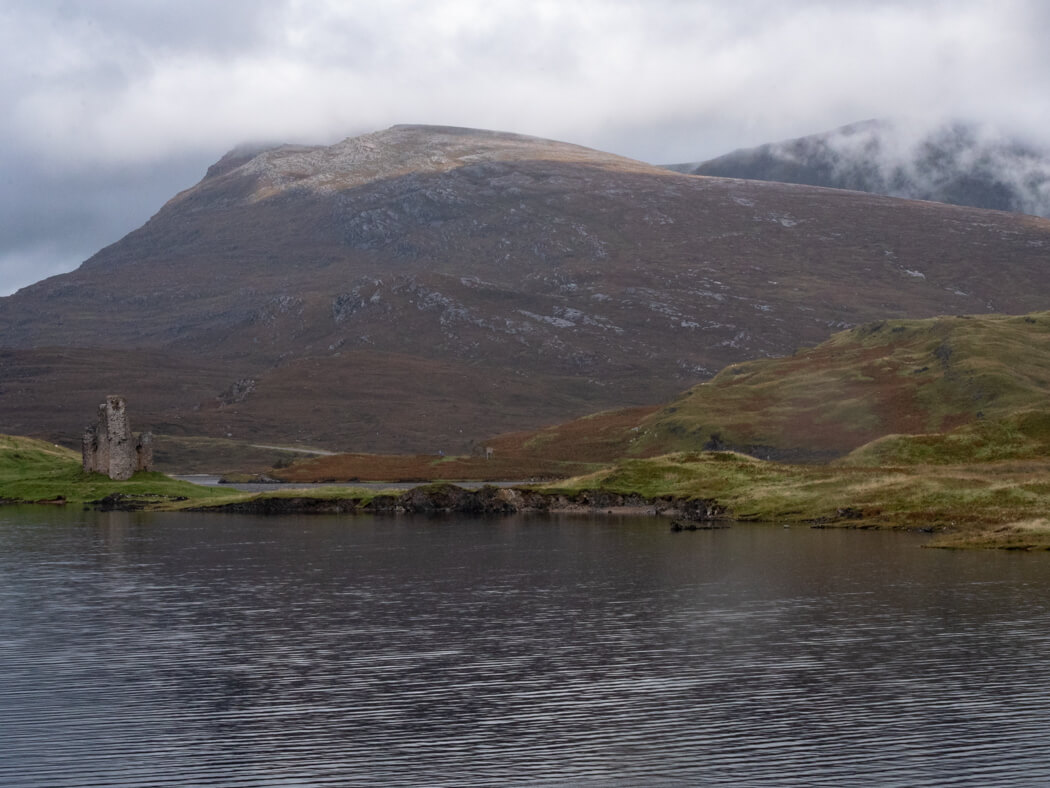 Ardvreck Castle sits on the shores of Loch Assynt
