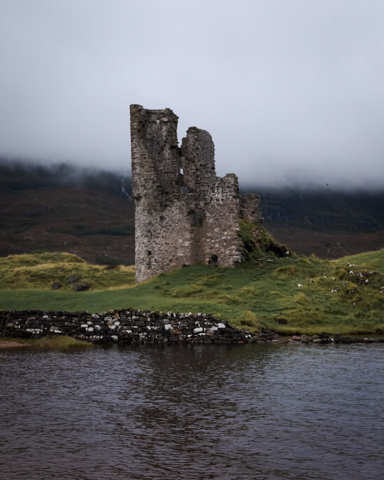A moody picture of Ardvreck Castle on Loch Assynt