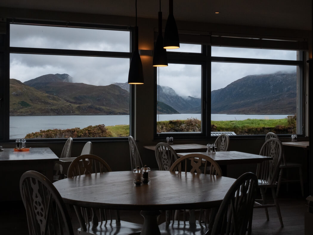 The views from tables of the Kylesku Hotel, Assynt
