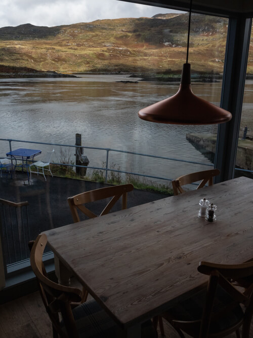 Views of the loch from the tables of the Kylesku Hotel