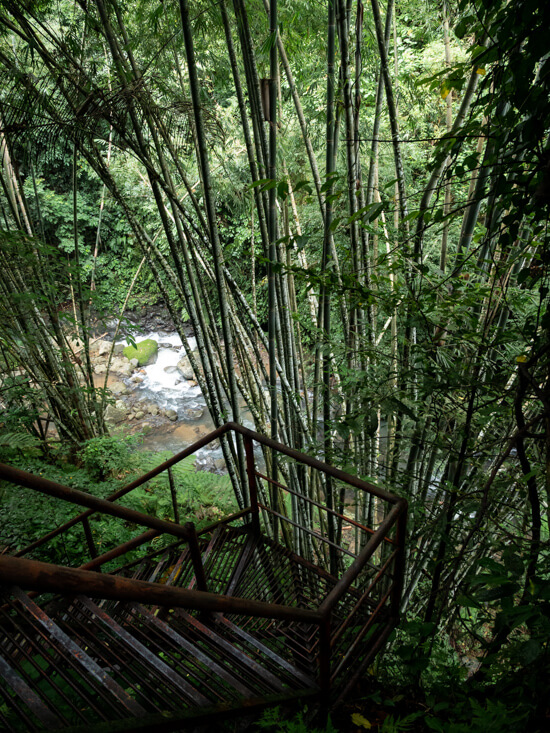 A stairway leads down to a river in Negros Oriental