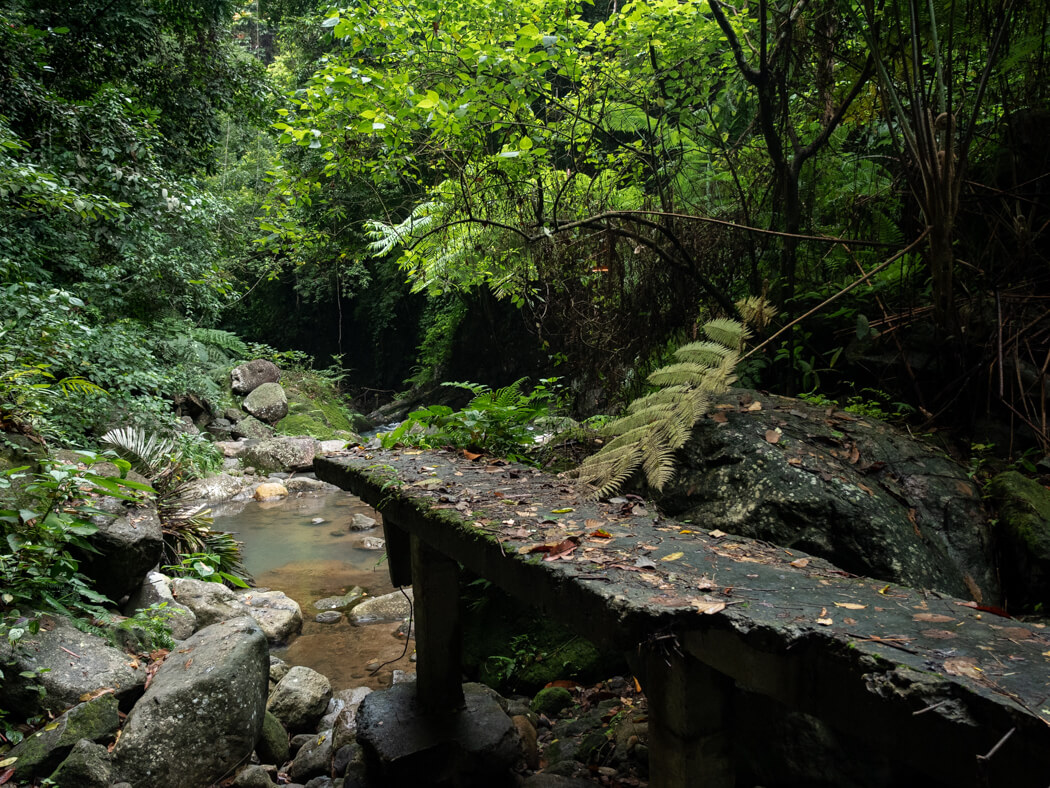 The remains of a destroyed bridge near Casaroro Falls