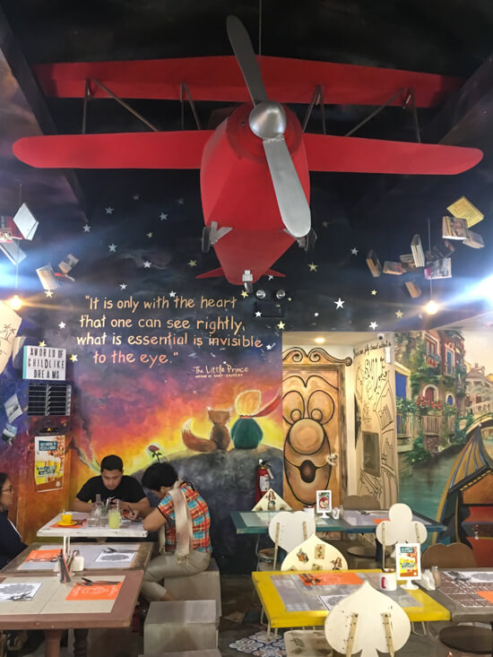 Little Prince decorations within Chapters Cafe, best restaurants in Dumaguete