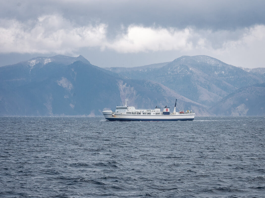 A white cruise ship sails between mountains on sea