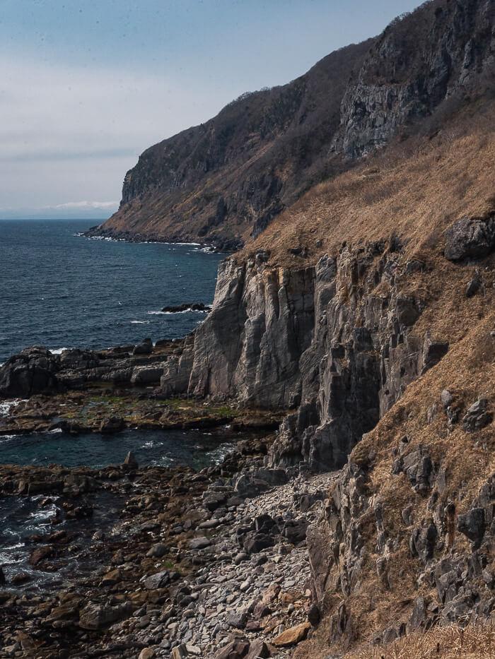 Cape Tachimachi views. Rugged seacliffs