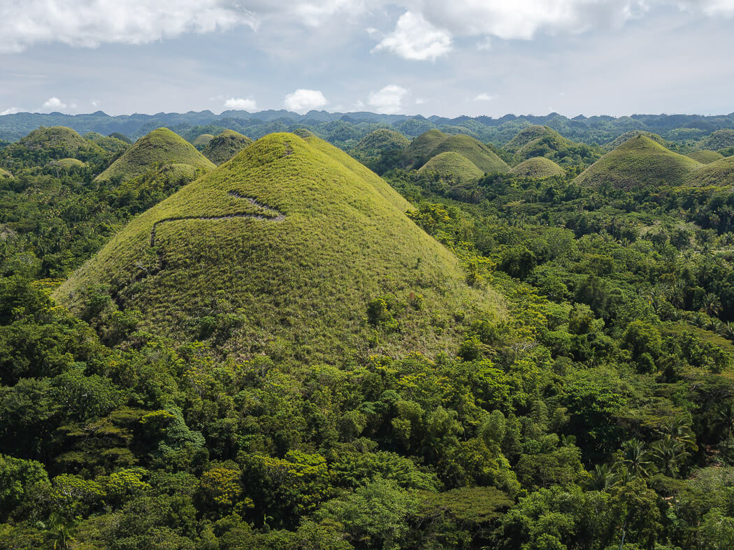 Rounded green hills in Bohol. 3 Weeks Philippines Itinerary