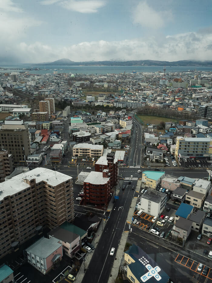 A view of Hakodate City from Goryokaku Tower with the sea in the background