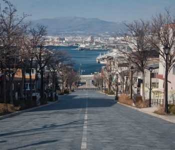 Hachiman Zaka slope leads all the way down the street to the sea