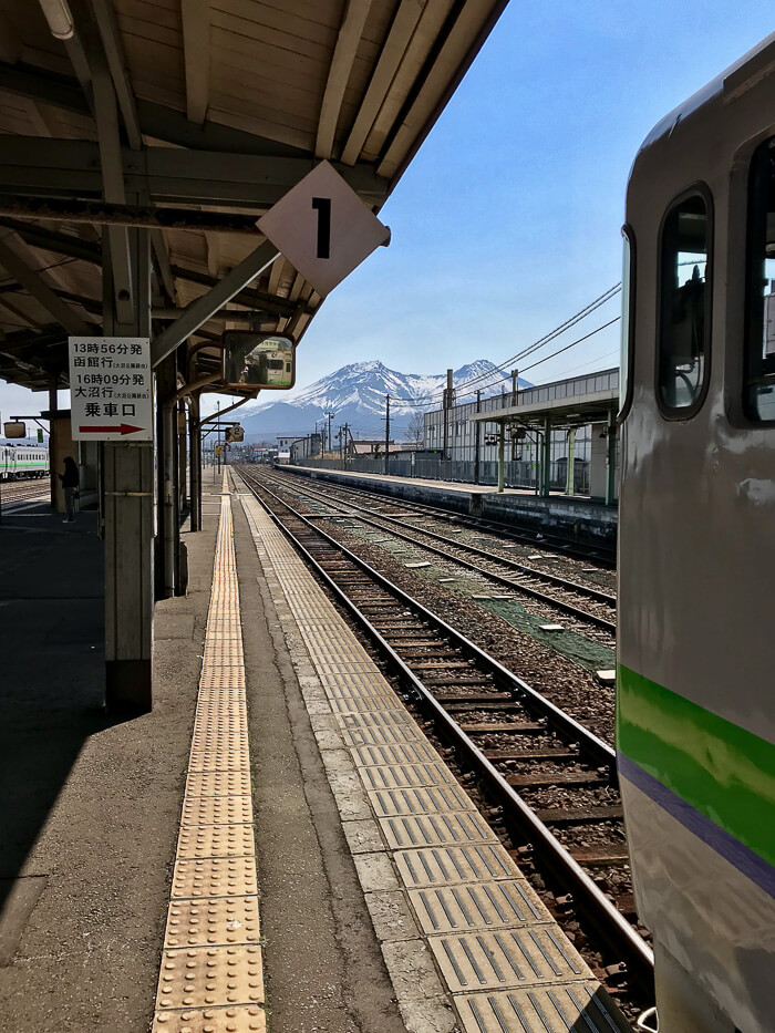 Incredible mountain views from the Hakodate train