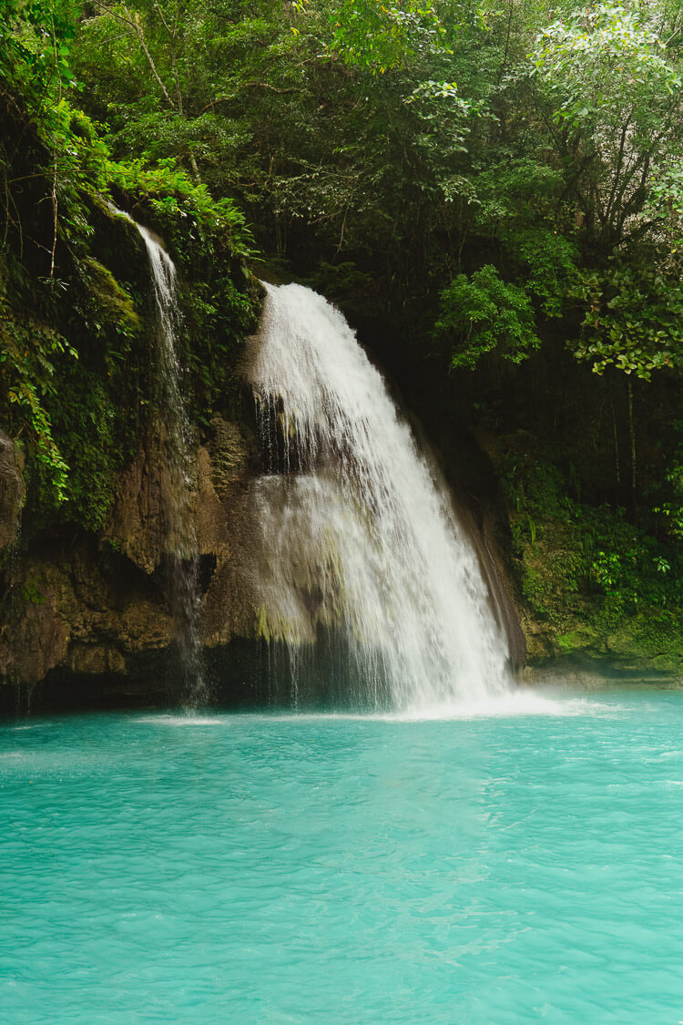 Kawasan falls and blue water beneath