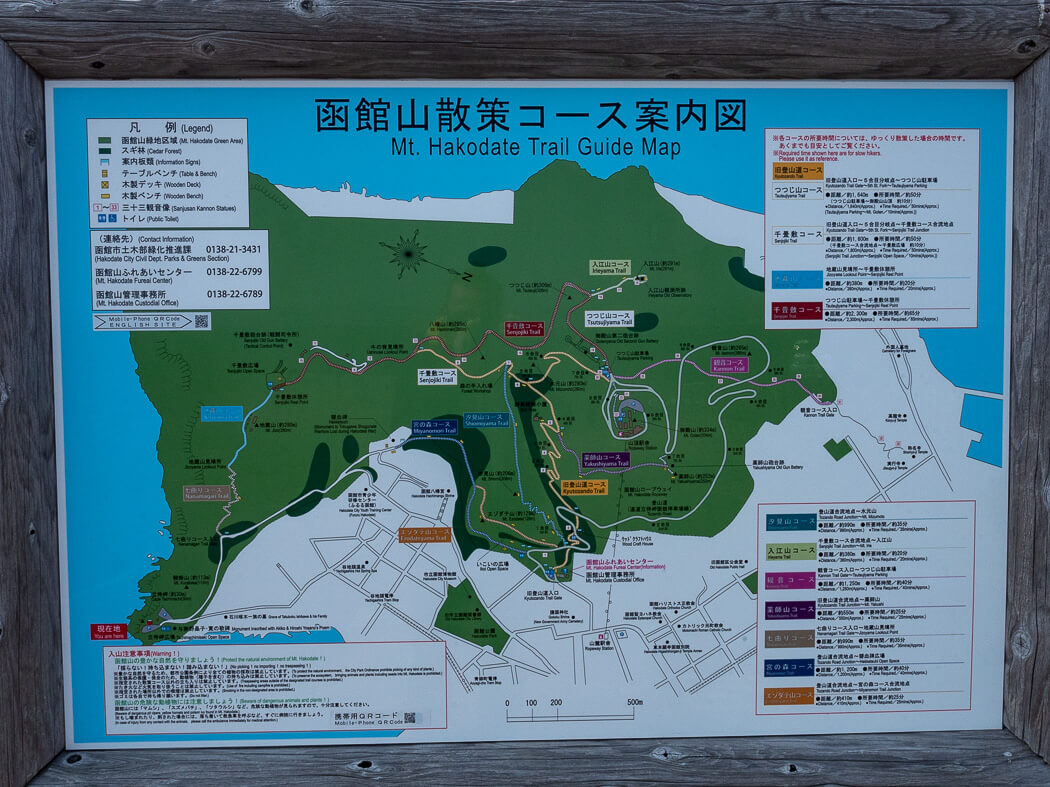 A trail map showing the different ways up to Mt Hakodate