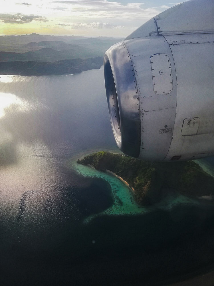 An aerial view of Coron from a plane
