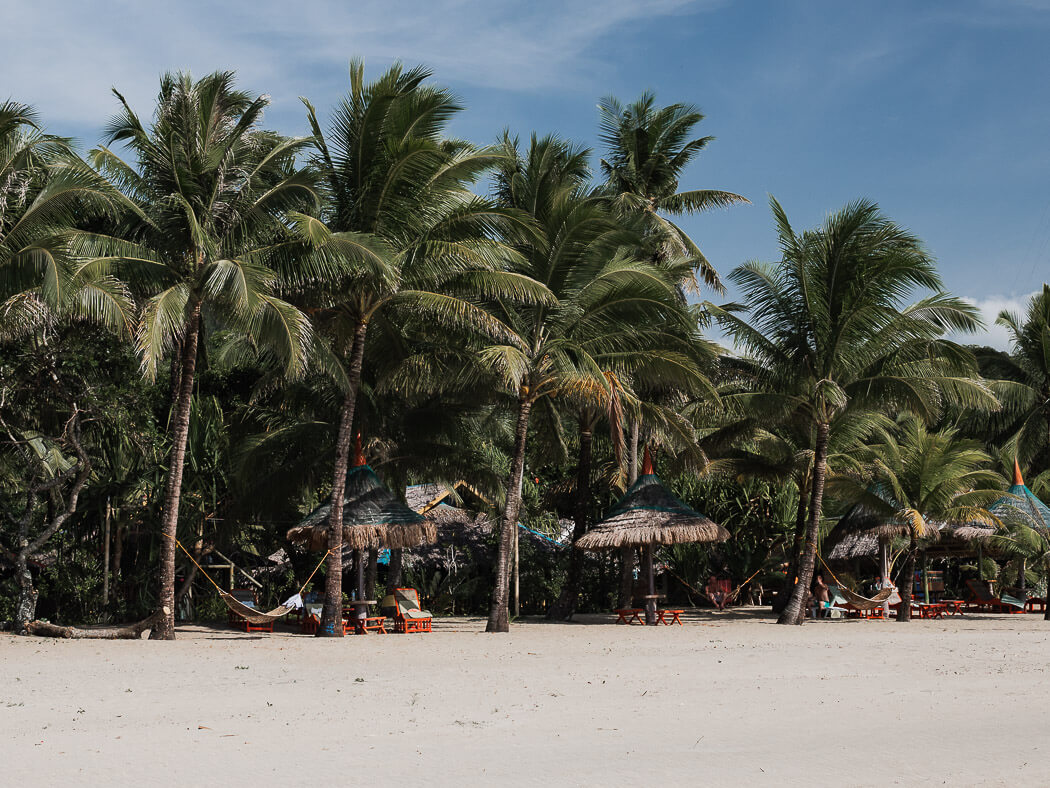 Palm trees with hammocks on Sugar Beach